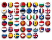 Insieme di vettore delle bandiere dei bottoni di Europa Fotografia Stock