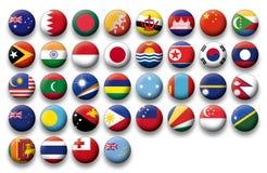 Insieme di vettore delle bandiere dei bottoni di Oceania e di Pacifico Immagini Stock Libere da Diritti