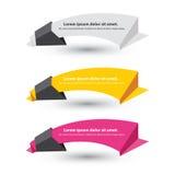 Insieme di vettore delle bandiere del documento di origami Immagini Stock Libere da Diritti