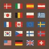Insieme di vettore delle bandiere del mondo nello stile di lerciume Fotografia Stock