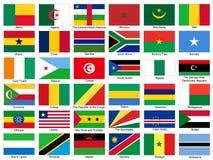 Insieme di vettore delle bandiere dell'Africa Immagine Stock Libera da Diritti