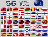 Insieme di vettore delle bandiere europee nella forma ovale Fotografie Stock Libere da Diritti