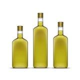 Insieme di vettore delle bevande whiskey delle bevande alcoliche dell'alcool o del girasole Olive Oil Glass Bottles Isolated su b Immagini Stock