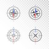 Insieme di vettore delle bussole d'annata o delle rose dei venti marine Raccolta nella linea stile di arte illustrazione vettoriale