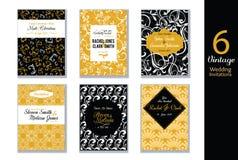 Insieme di vettore delle carte degli inviti di nozze con il nero, il bianco ed i modelli d'avanguardia astratti gialli dell'oro G illustrazione vettoriale
