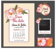 Insieme di vettore delle carte dell'invito con Carte d'annata o inviti di nozze Fotografie Stock