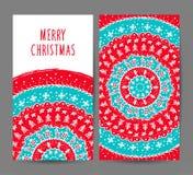 Insieme di vettore delle cartoline d'auguri del nuovo anno e di Natale Immagine Stock
