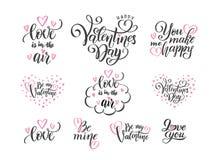 Insieme di vettore delle citazioni di frasi di amore dell'iscrizione della mano nera al giorno di biglietti di S. Valentino, conc illustrazione di stock