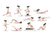 Insieme di vettore delle donne che fanno gli esercizi fisici illustrazione di stock
