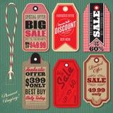 Insieme di vettore delle etichette d'annata di vendita di stile Immagine Stock