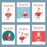 Insieme di vettore delle etichette d'annata di Natale, insegne con il carattere di Santa Claus del fumetto, presente, albero, cap illustrazione di stock