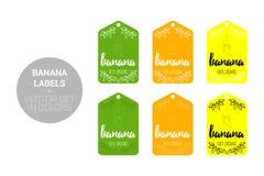 Insieme di vettore delle etichette di Eco della frutta della banana nei colori verdi e gialli illustrazione di stock