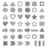 Insieme di vettore delle figure geometriche grige disegnate a mano differenti Fotografia Stock