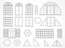 Insieme di vettore delle finestre e degli otturatori di contorni Fotografia Stock