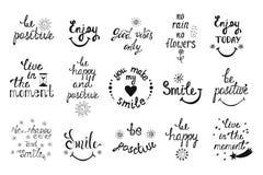 Insieme di vettore delle frasi disegnate a mano di calligrafia Typograph positivo Fotografia Stock