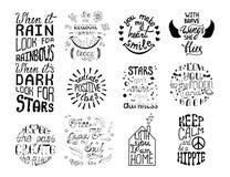 Insieme di vettore delle frasi disegnate a mano di calligrafia Typograph romantico Fotografia Stock Libera da Diritti