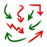Insieme di vettore delle frecce del graffio delle frecce di lerciume, degli elementi di presentazione, di rosso e di verde illustrazione vettoriale