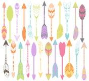 Insieme di vettore delle frecce stilizzate o astratte della piuma Fotografie Stock Libere da Diritti