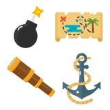 Insieme di vettore delle icone degli accessori del giocattolo di avventure del pirata dei tesori Fotografia Stock