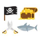 Insieme di vettore delle icone degli accessori del giocattolo di avventure del pirata dei tesori Fotografia Stock Libera da Diritti