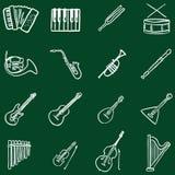 Insieme di vettore delle icone degli strumenti musicali di scarabocchio del gesso illustrazione di stock