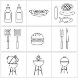 Insieme di vettore delle icone del barbecue salsa di contorno e griglia ed hamburger illustrazione di stock