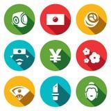 Insieme di vettore delle icone del Giappone Sport, bandiera nazionale, alimento tradizionale, giapponese, Yen, Sakura, geisha, Ya illustrazione vettoriale