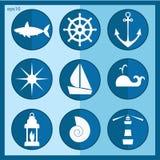 Insieme di vettore delle icone del mare Immagine Stock