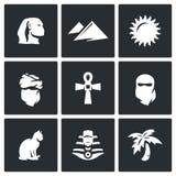 Insieme di vettore delle icone dell'Egitto Sfinge, duna, Sun, beduino, manufatto, Paranja, gatto, faraone, oasi Fotografia Stock Libera da Diritti