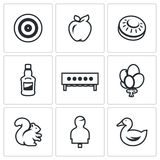Insieme di vettore delle icone dell'obiettivo Tiro con l'arco, Apple, piatto per la fucilazione del banco, bottiglia, biathlon, p Immagine Stock Libera da Diritti