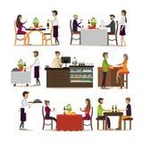 Insieme di vettore delle icone della gente del ristorante e del pub, stile piano illustrazione vettoriale