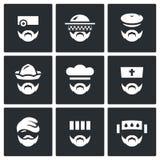 Insieme di vettore delle icone della gente di professione Medico, apicoltore, cacciatore, addetto, cuoco, sacerdote, senzatetto,  illustrazione di stock