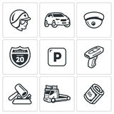 Insieme di vettore delle icone della polizia della pattuglia della strada Poliziotto, automobile, CCTV, segno, parcheggio, violaz Immagini Stock Libere da Diritti