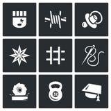 Insieme di vettore delle icone della prigione Prigioniero, isolamento, controllo, tatuaggio, cellula, cucente, falegnameria, spor illustrazione vettoriale