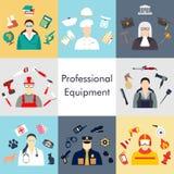 Insieme di vettore delle icone della raccolta dell'illustrazione di vettore dell'attrezzatura di professioni di colore Immagini Stock