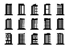 Insieme di vettore delle icone della società, raccolta di costruzione nera su fondo bianco, illustrazione isolata di affari illustrazione vettoriale