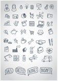 Insieme di vettore delle icone di affari di scarabocchio con i fumetti motivazionali Immagini Stock
