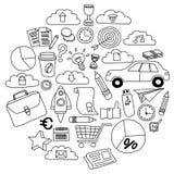 Insieme di vettore delle icone di affari di scarabocchio su Libro Bianco Immagini Stock