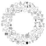 Insieme di vettore delle icone di affari di scarabocchio su Libro Bianco Immagine Stock