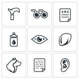 Insieme di vettore delle icone di inabilità illustrazione di stock