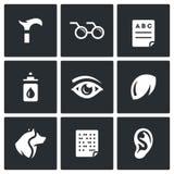 Insieme di vettore delle icone di inabilità Zoppia, cecità, sistema diagnostico, prevenzione, visione, occhio, lente a contatto,  royalty illustrazione gratis