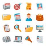 Insieme di vettore delle icone di ricerca di lavoro Fotografia Stock