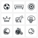 Insieme di vettore delle icone di sport Calcio, biathlon, tiro con l'arco, scacchi, saltanti, pallacanestro, calcio, ciclante, te Fotografia Stock