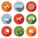 Insieme di vettore delle icone di sport Calcio, biathlon, tiro con l'arco, scacchi, saltanti, pallacanestro, calcio, ciclante, te Immagine Stock