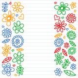 Insieme di vettore delle icone di disegno dei fiori del bambino nello stile di scarabocchio Dipinto, variopinto, immagini su un p immagine stock libera da diritti
