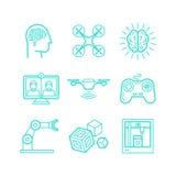 Insieme di vettore delle icone nello stile lineare d'avanguardia royalty illustrazione gratis