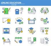 Insieme di vettore delle icone online di istruzione nella linea stile sottile Scuola e esercitazioni online e corsi dell'istituto illustrazione di stock