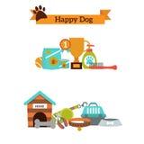 Insieme di vettore delle icone per l'alimento per animali domestici del cane, vettore di colore degli accessori dell'animale dome illustrazione di stock