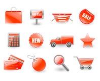 Insieme di vettore delle icone rosse di acquisto Fotografie Stock Libere da Diritti