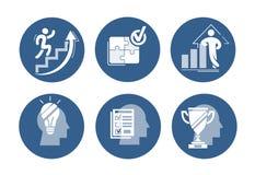 Insieme di vettore delle icone di successo Grafico aumentante con la figura sicura, scala alta corrente di carriera, puzzle monta Fotografie Stock Libere da Diritti
